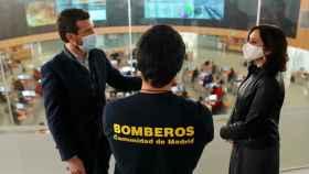 Pablo Casado e Isabel Díaz Ayuso, este martes tras visitar las instalaciones del 112.