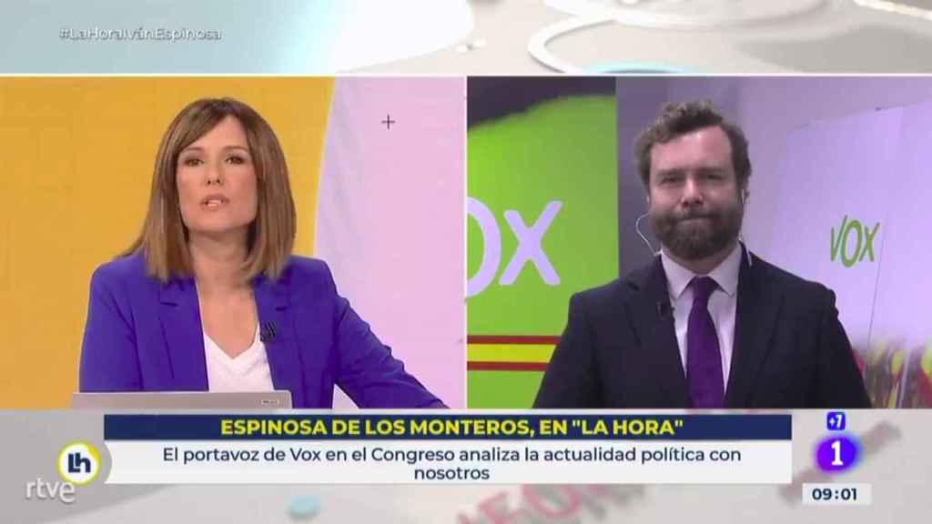 López y Espinosa de los Monteros en la conexión en directo de TVE.
