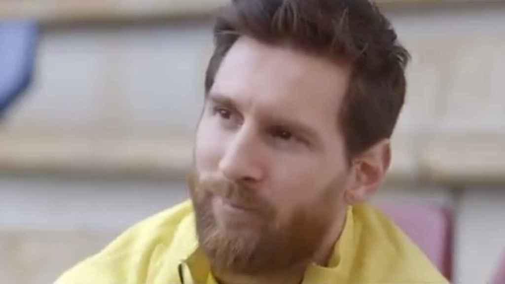 Leo Messi aguantando las lágrimas en el documental de BarçaTV