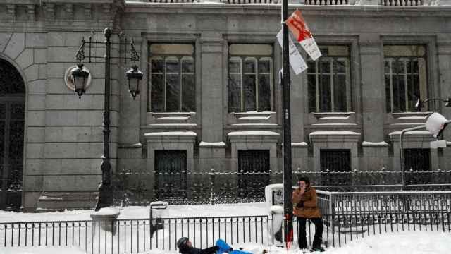 La nevada de Madrid, delante del Banco de España.