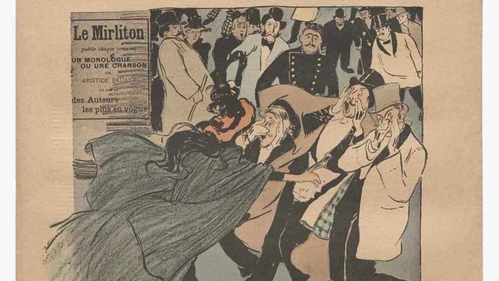 Ilustración de una mujer echando ácido a varios hombres. Théophile-Alexandre Steinlen, 'Le Mirliton, no. 129'. Publicado en septiembre de 1893.