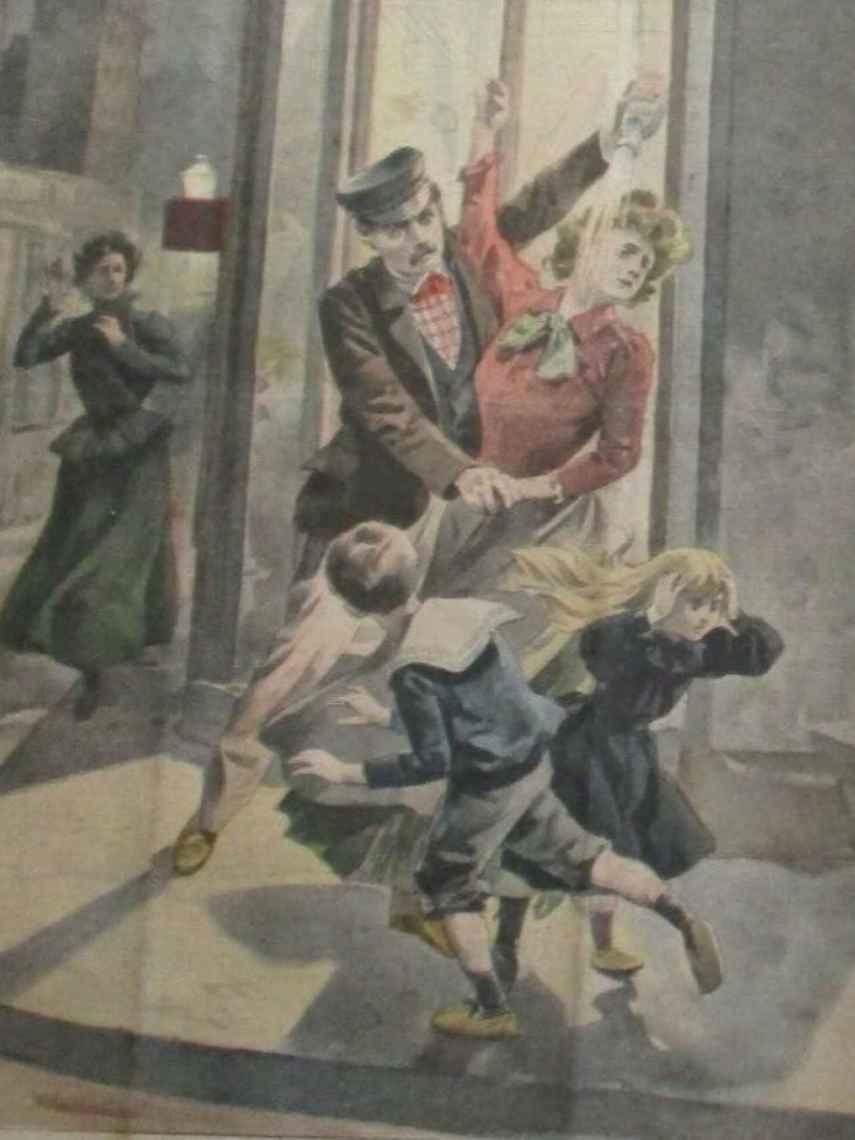 Una ilustración de 'Le petit journal' de 1901 titulada 'Un mari vitrioleur', que muestra a un hombre arrojando ácido a una mujer.