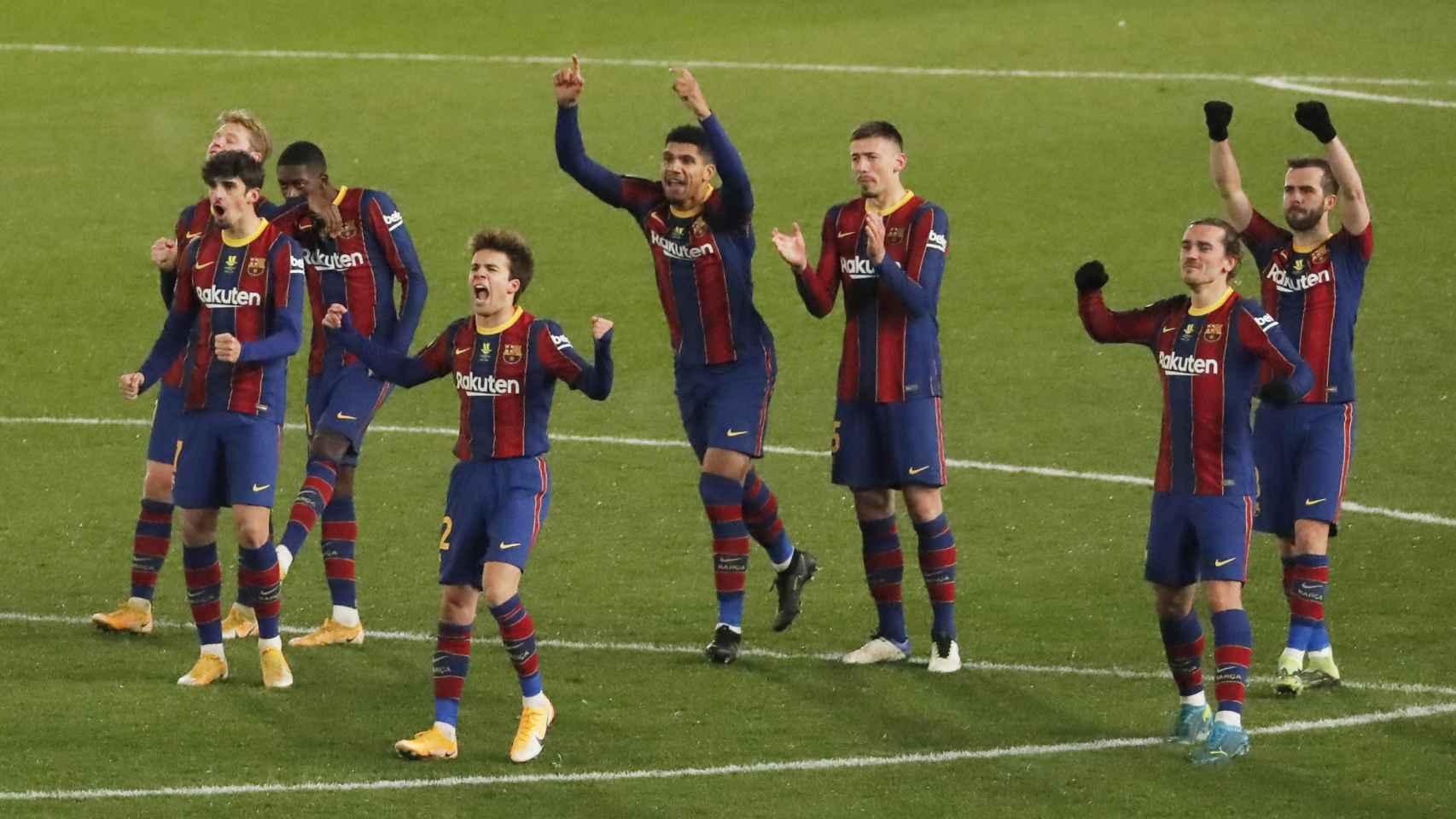 Reacción de los jugadores del Barcelona en la tanda de penaltis