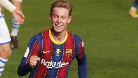 Frenkie de Jong celebra su gol con el Barcelona en la semifinal de la Supercopa de España
