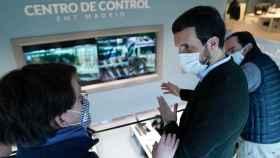 El presidente del PP, Pablo Casado, con el alcalde de Madrid, José Luis Martínez-Almeida, este miércoles.