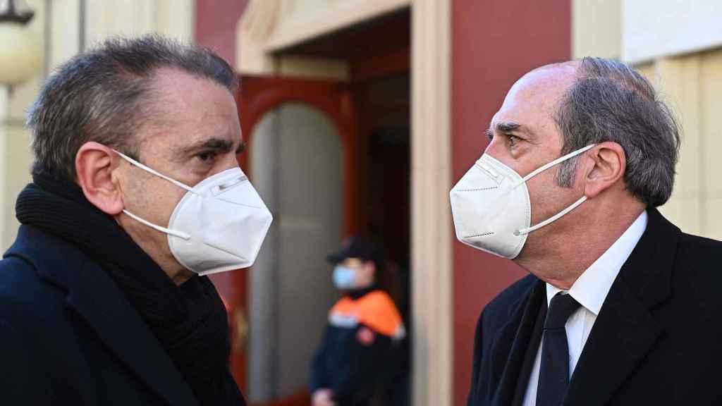 El líder del PSM y el portavoz socialista en la Asamblea de Madrid, José Manuel Franco y Ángel Gabilondo.