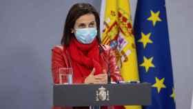 Margarita Robles, ministra de Defensa, en rueda de prensa en Moncloa.