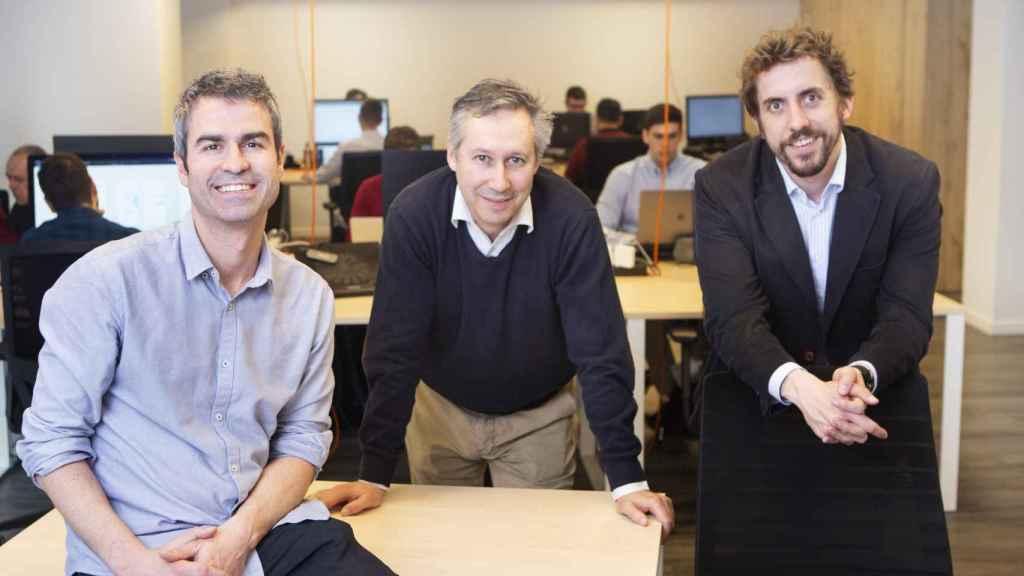 Equipo Directivo de Meep. De izqda. a dcha. Íñigo Herzog, CTO; Borja Fernández – Acero, Arquitecto de TI, y Guillermo Campoamor, CEO