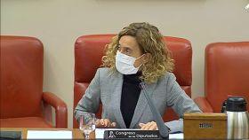 La presidenta del Congreso Meritxell Batet durante la primera comparecencia de los candidatos a presidir RTVE.