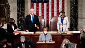 Mike Pence y Nancy Pelosi, en el Capitolio el pasado 7 de enero.