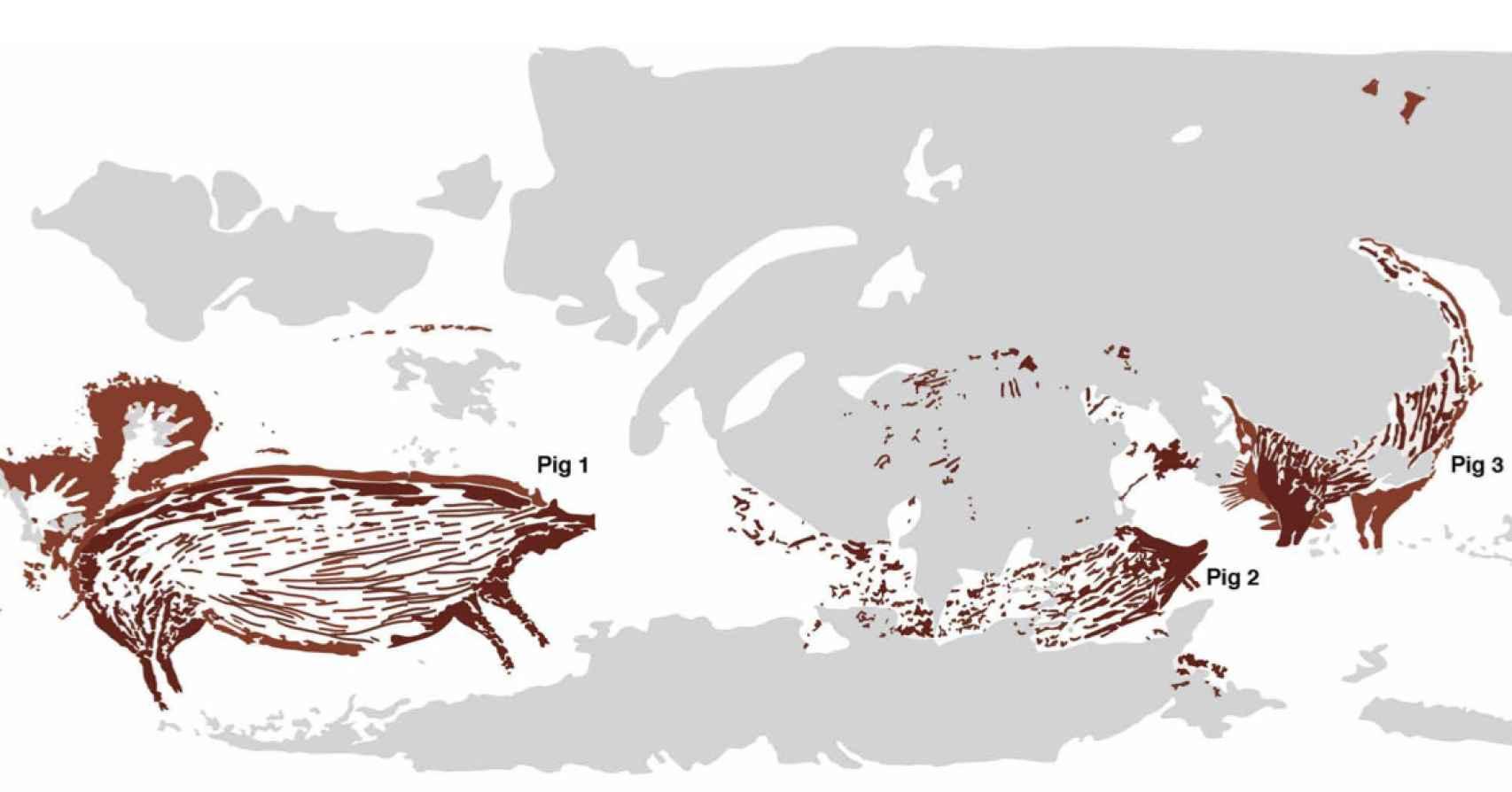 Trazado digital del panel de arte rupestre.