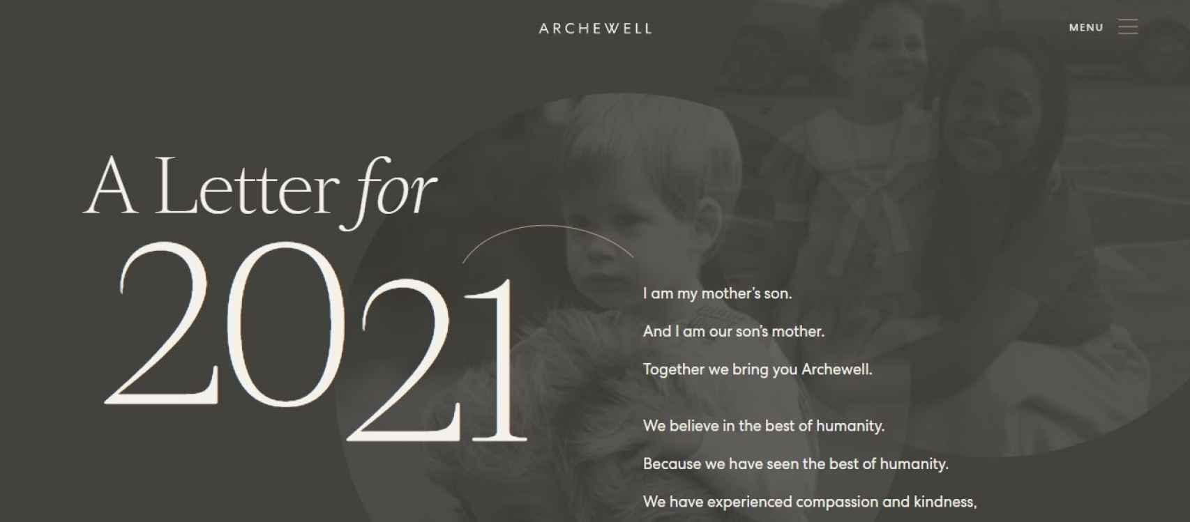 Captura de la web Archewell, con las imágenes de la infancia de Harry y Meghan.