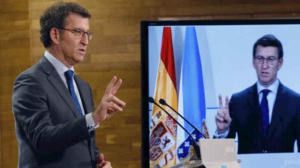 El presidente de la Xunta de Galicia, Alberto Núñez Feijóo, tras la reunión semanal de su Ejecutivo