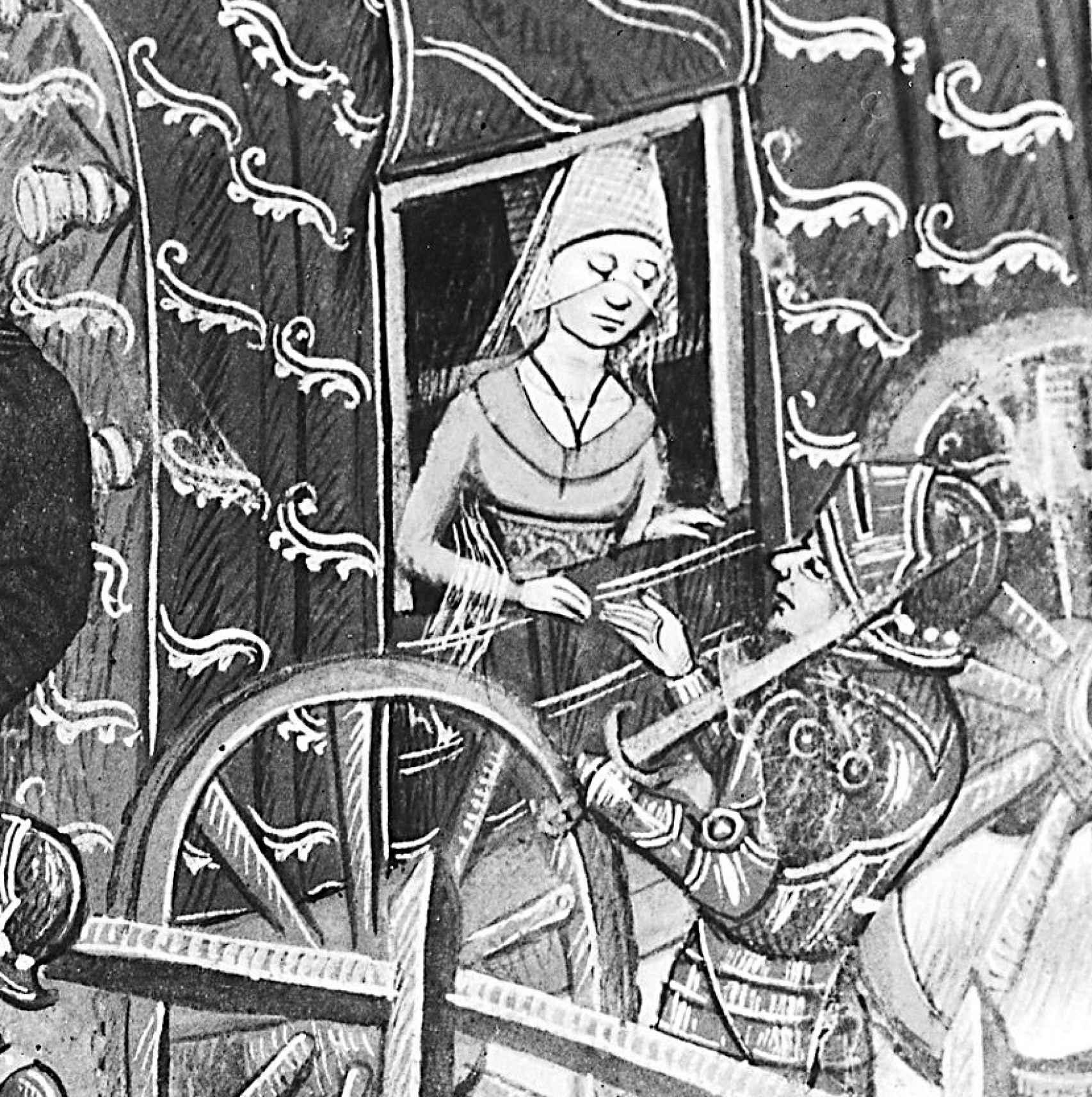 Marguerite se despide de Jean antes del duelo, según una ilustración de Jean de Wavrin.