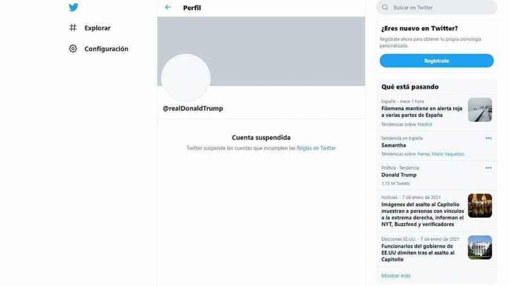 Cuenta de Donald Trump, suspendida.