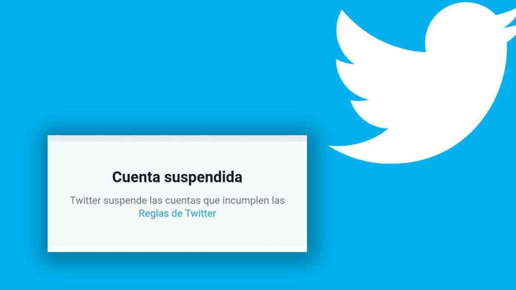 Mensaje que muestra Twitter cuando suspende una cuenta.