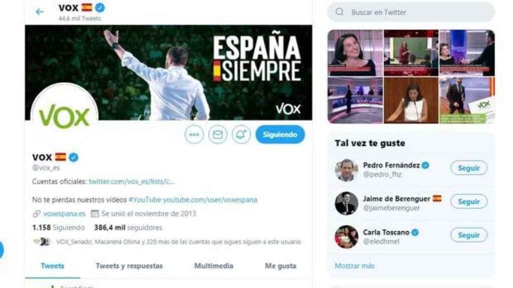Twitter también suspendió la cuenta de Vox.