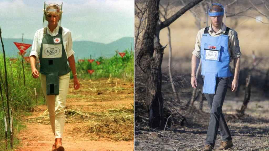 A la izquierda, Diana en un viaje a África en 1997. A la derecha, Harry en el mismo continente en 2019.