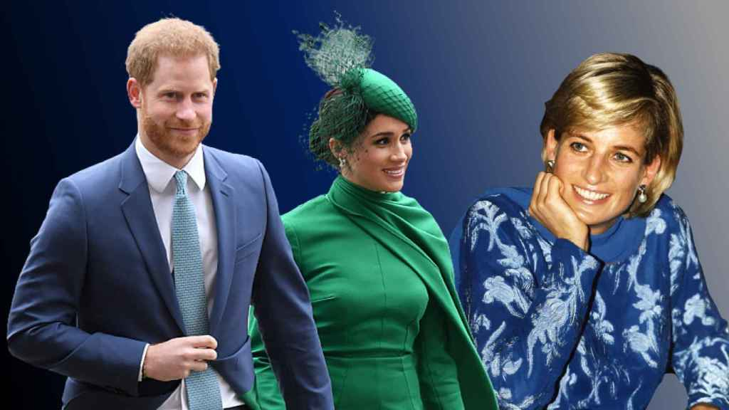 Harry y Meghan, junto a Diana de Gales, en un fotomontaje de JALEOS.