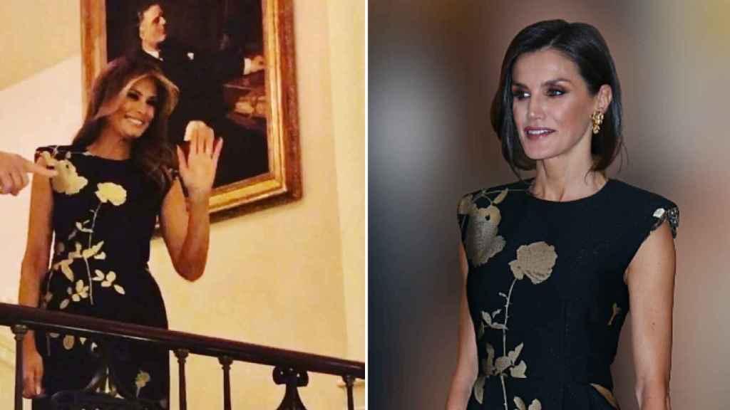 Un mes después de que lo vistiera Letizia, Melania lució este vestido de Dries Van Noten.