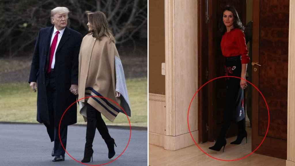Melania Trump lució una botas de tacón aguja semanas después que las llevara Letizia.