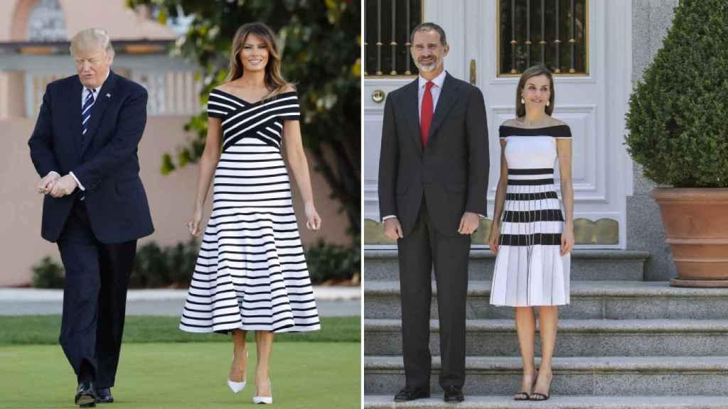Meses después que Letizia vistiera este diseño a rayas de Carolina Herrera, Melania optó por uno similar y de la misma diseñadora.