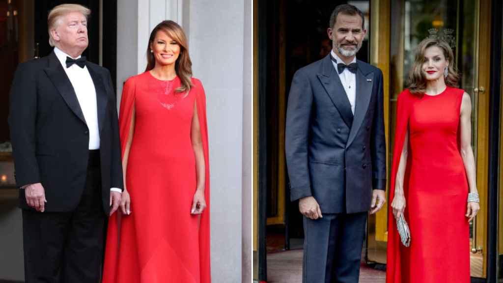 En 2019, Melania lució un vestido similar al que llevó la Reina en 2017 al cumpleaños de Guillermo de Holanda.