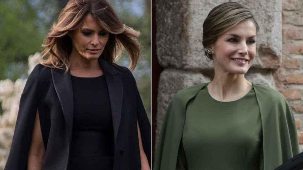 En 2018, Melania se decantó por un vestido con efecto capa, un modelo que cautivó  a la Reina meses antes.