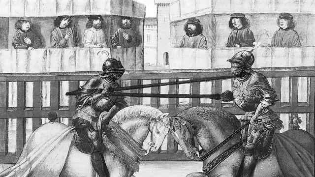 Caballeros en una justa según una ilustración de Jean de Wavrin.