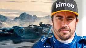 Fernando Alonso y el A521, el coche que llevará en Alpine F1 Team, en un fotomontaje