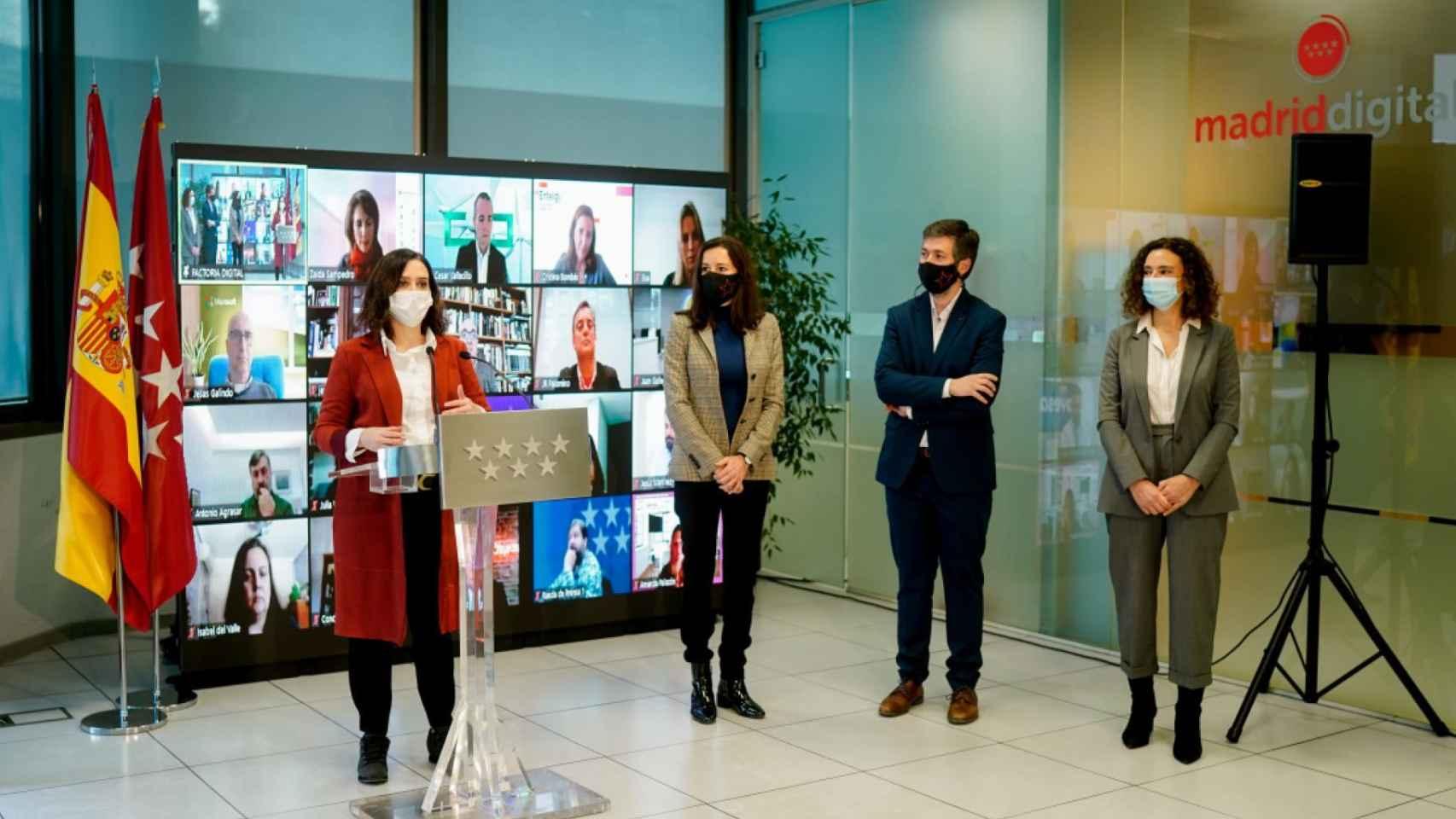 Díaz Ayuso, durante la presentación de Factoría Digital este miércoles. FOTO: Comunidad de Madrid.
