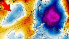 Las bajas presiones atlánticas situándose frente a la Península el sábado. Severe-weather.eu.