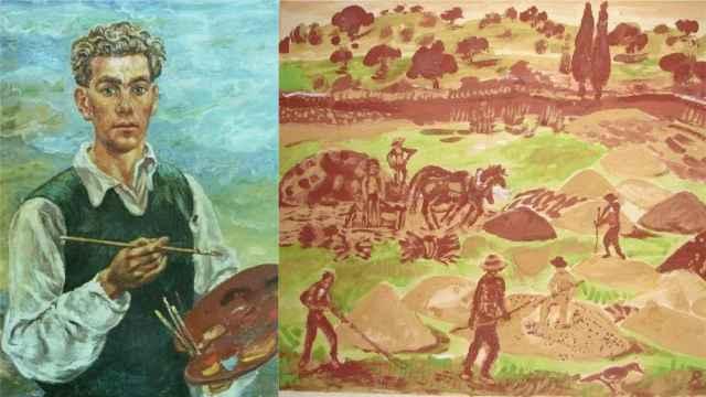 Autorretrato de Benjamín Palencia y 'Feria de ganado' (1977).