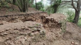 Excavación en el contrafuerte del segundo tramo del acueducto, en el término de Vallmoll (Alt Camp)