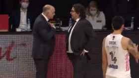 Pablo Laso y Trinchieri al término del partido