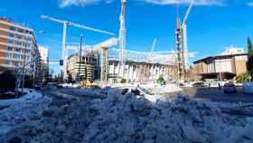 Los aledaños del Santiago Bernabéu con nieve