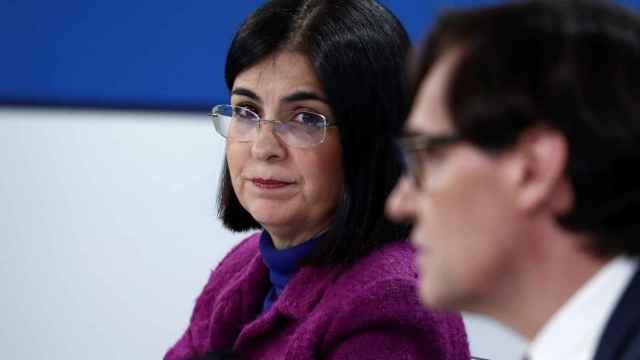 Carolina Darias mira a Salvador Illa, durante una comparecencia conjunta esta semana.