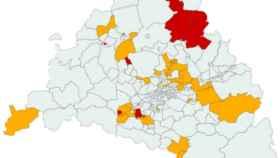 Mapa de Madrid de las 47 zonas básicas y 19 municipios confinados. Europa Press