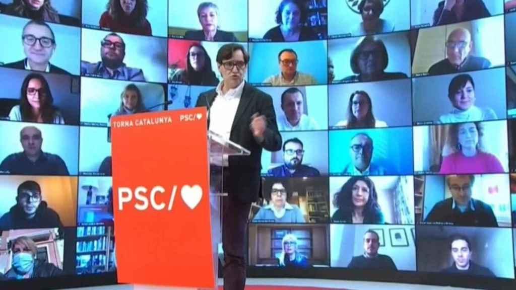 Salvador Illa durante un reciente acto electoral del PSC para las elecciones autonómicas catalanas.