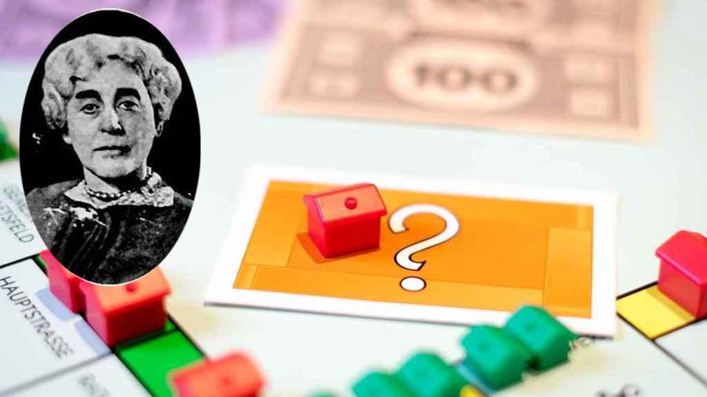 Imagen del Monopoly y su inventora, Elisabeth Magie Phillips.