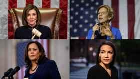 Nancy Pelosi, Elizabeth Warren, Kamala Harris, Alexandria Ocasio-Cortez.