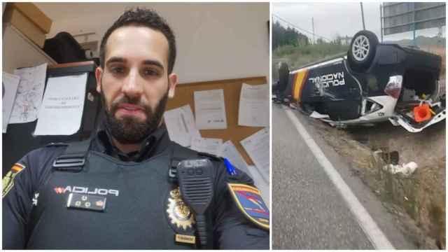 El policía Fran y su coche volcado en Algeciras.