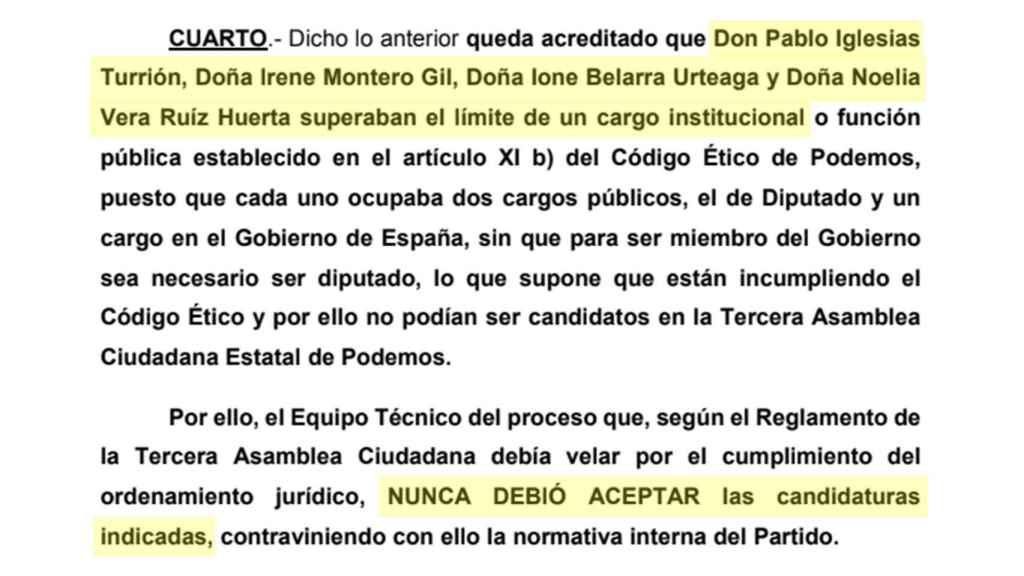 Extracto de la denuncia que Barredo ha interpuesto contra Podemos.