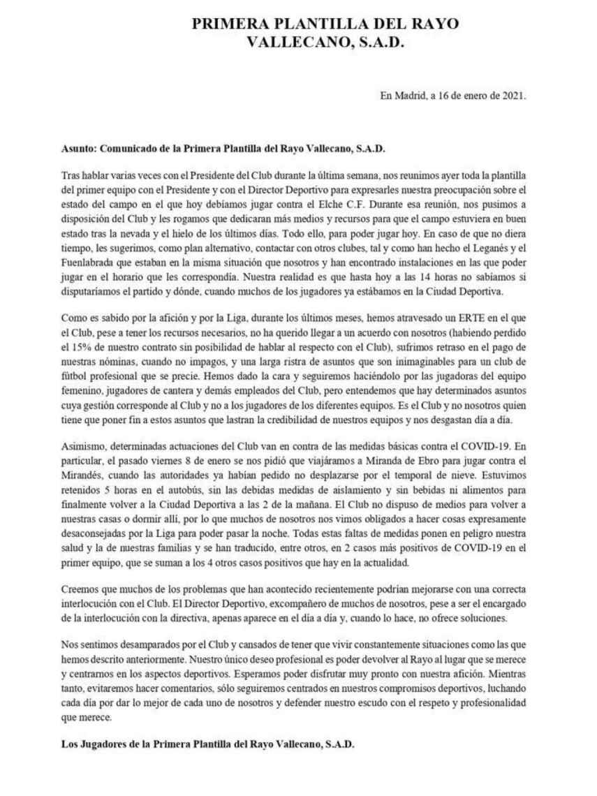 Comunicado de la plantilla del Rayo Vallecano