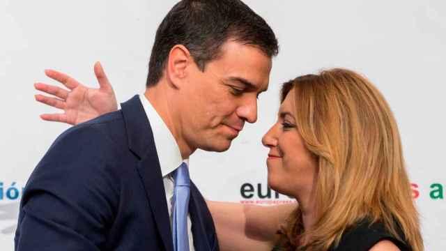 La secretaria general del PSOE andaluz, Susana Díaz, y el presidente del Gobierno, Pedro Sánchez, en una imagen de archivo.