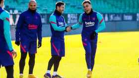 Messi y Dest en el entrenamiento del FC Barcelona
