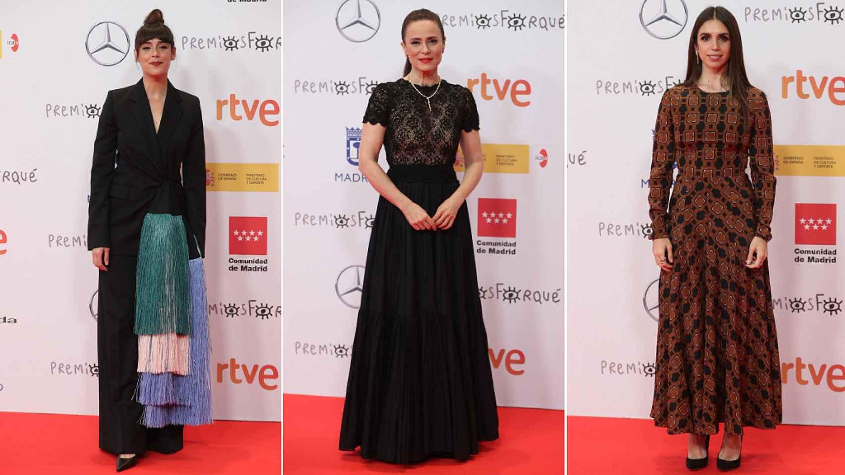Belén Cuesta, Aitana Sánchez Gijón y Elena Furiase, en los premios Forqué 2021.