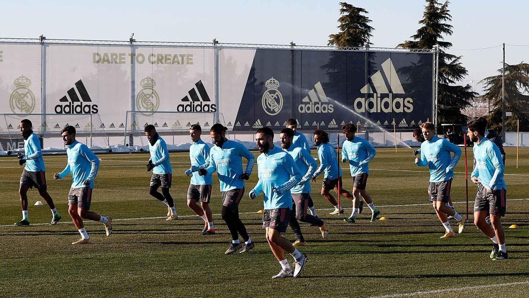 Los jugadores del Real Madrid, en el entrenamiento del 17 de enero de 2021