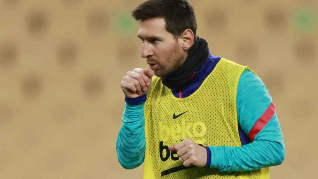 Leo Messi, antes del Barcelona - Athletic de la Supercopa de España