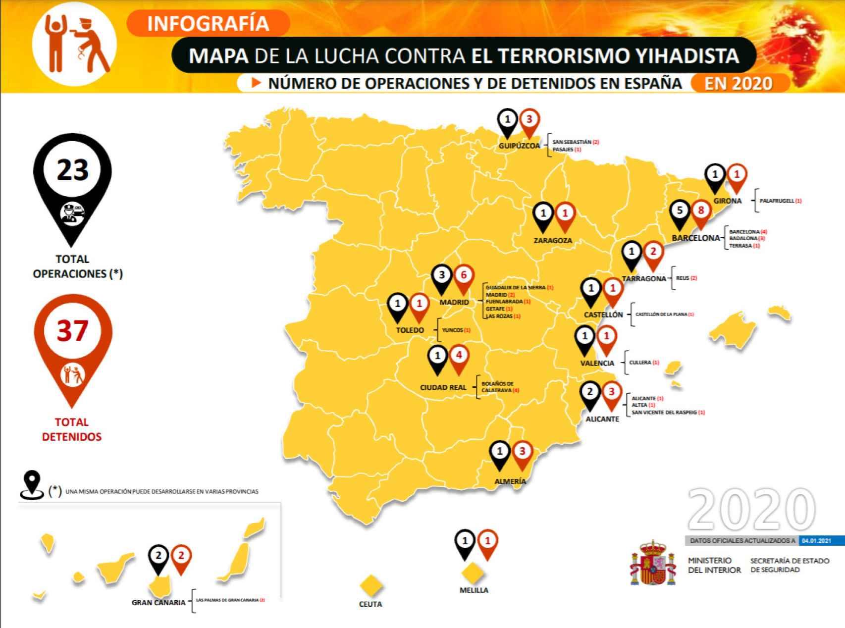 Mapa con todos los detenidos por yihadismo y las operaciones policiales de 2020.